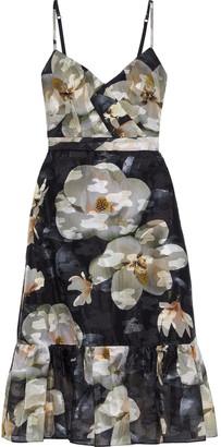 Marchesa Notte Floral-print Metallic Fil Coupe Organza Midi Dress