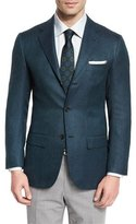 Kiton Textured Cashmere Two-Button Sport Coat, Green/Navy