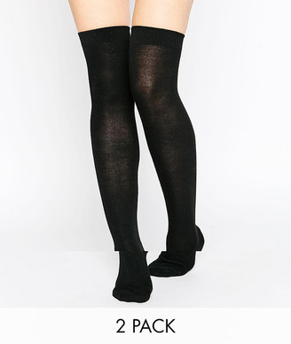 Gipsy 2 pack over the knee socks-Black