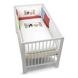 Sterntaler Cot Bedding Set, Pillow, Coverlet and Bumper, Farm Animals, Age: for Babies from Birth Upwards, White/Multicoloured