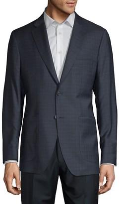Saks Fifth Avenue Made In Italy Tonal Windowpane Plaid Wool Silk-Blend Blazer