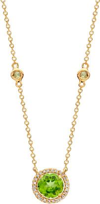 Kiki McDonough Grace 18k Gold Peridot Diamond Pendant Necklace