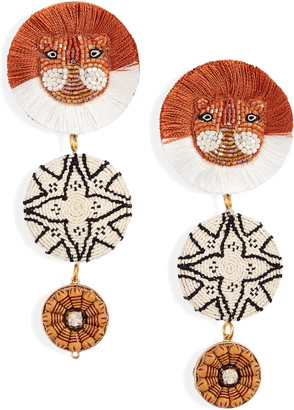 Mignonne Gavigan Leo Lux Bead & Raffia Statement Drop Earrings