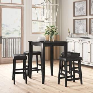 Three Posts Haslingden 5 Piece Dining Set Color: Black