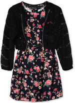 BCX 2-Pc. Floral Dress and Lace Bomber Jacket, Big Girls (7-16)