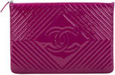 One Kings Lane Vintage Chanel Large Magenta Patent Clutch