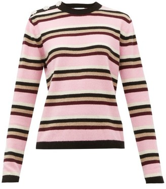 Ganni Crystal-button Cashmere Sweater - Womens - Pink Multi