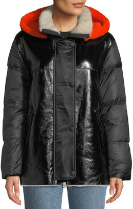 Yves Salomon Lamb Shearling & Leather Down Jacket