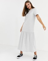 Asos Design DESIGN t-shirt maxi dress with tiered dropped hem in gray marl