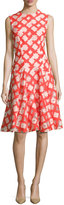Lela Rose Sleeveless Godet A-Line Dress, Coral/Blush