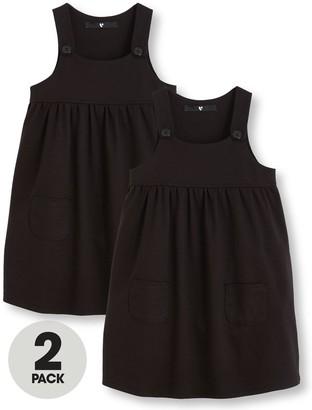 Very Girls 2 Pack Jersey Pinafore School Dresses - Black