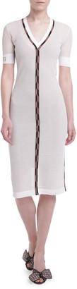 Fendi Open-Weave V-Neck Cocktail Dress