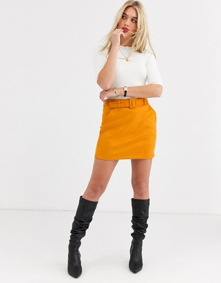 Vero Moda faux suede belted skirt