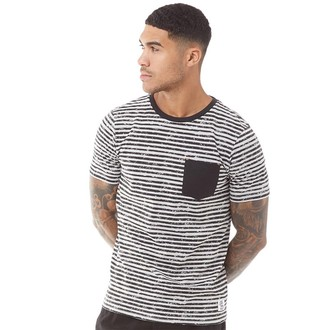 Fluid Mens Striped T-Shirt Black/Grey Marl