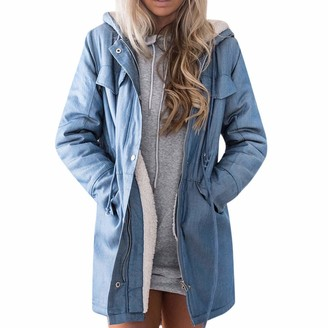 Kalorywee Coats KaloryWee Womens Coats KaloryWee Clothes Sale Clearance Autumn Winter Warm Zipper Hooded Wool Vintage Denim Thick Jacket Long Sleeve Hoodie Jeans Tops Long Outwear