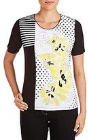 Allison Daley Short Sleeve Embellished & Foil Detail Dot-Floral Print Knit Top