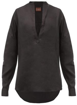 ALBUS LUMEN Alois V-neck Linen Shirt - Black