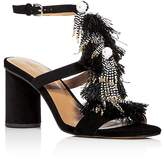 Rebecca Minkoff Women's Alnie Suede Beaded Tassel High Heel Sandals