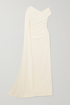 Talbot Runhof Cape-effect Off-the-shoulder Ruched Stretch-cady Gown - Ivory