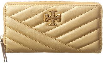 Tory Burch Kira Chevron Metallic Leather Zip Continental Wallet