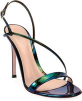Gianvito Rossi Assymmetric Oil Patent Sandals