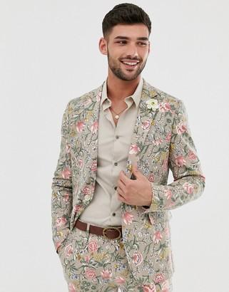 Gianni Feraud Wedding Skinny Fit Linen Blend Floral Suit Jacket-Stone