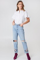 Debiflue X Na Kd High Waist Embroidered Ankle Jeans