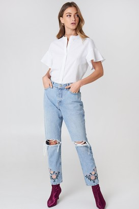 NA-KD Debiflue X High Waist Embroidered Ankle Jeans Blue