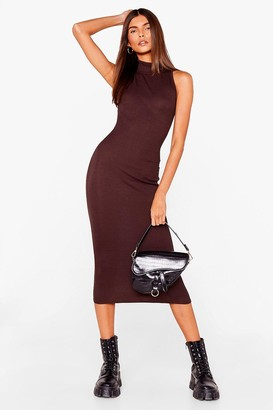 Nasty Gal Womens Livin' the High Life Fitted Midi Dress - Chocolate