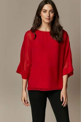 Wallis Womens Red Sheer Overlay Blouse - Red