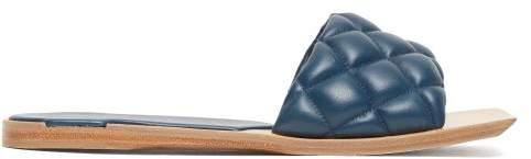 Bottega Veneta Quilted Leather Slides - Womens - Dark Blue