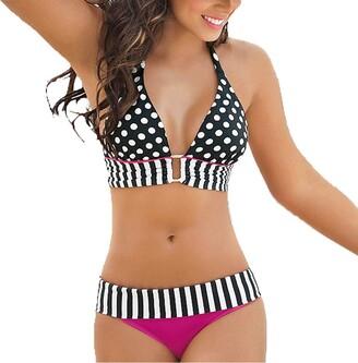 Beetlenew Women's Bikini Swimsuit Vintage Polka Dot Bikini Set Sexy Halter Neck Two-Piece Strapless Push Up Swimwear Bathing Suit Striped Bra Top Briefs 2Pcs Summer Beachwear Stripe Print Swimming Clothes (XL