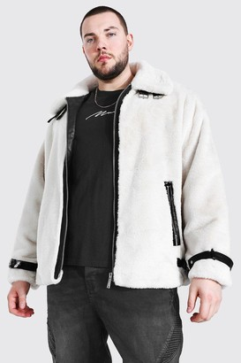 boohoo Mens White Plus Size Faux Fur Leather Look Trim Aviator, White