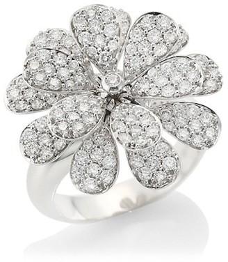 Hueb Secret Garden 18K White Gold & Diamond Flower Ring
