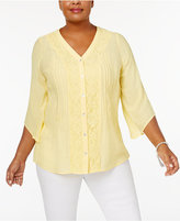 NY Collection Plus Size Lace-Detail Blouse