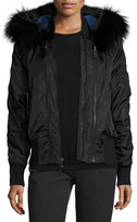 Derek Lam 10 Crosby Hooded Fur-Trim Tech Jacket, Black