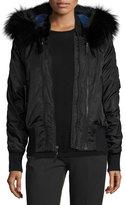 Derek Lam Hooded Fur-Trim Tech Jacket, Black