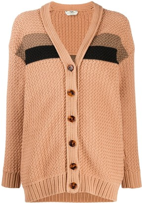 Fendi Stripe-Detail Knitted Cardigan