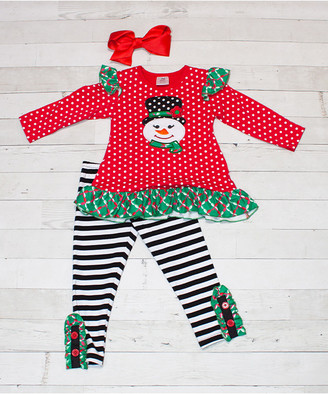 Dress Up Dreams Boutique Girls' Leggings Red/White/Green - Red Polka Dot Snowman Ruffle Top & Black Stripe Leggings Set - Infant, Toddler & Girls