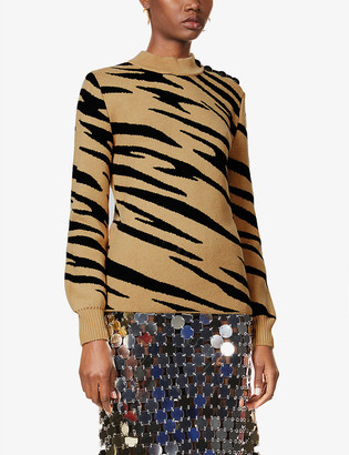 Paco Rabanne Tiger-print high-neck wool jumper