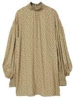MANGO Floral puffed sleeves dress
