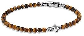 David Yurman Spiritual Beads Cross Bracelet with Tiger's Eye in Sterling Silver