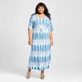 U-knit Women's Plus Size Watercolor Chevron Kimono Sleeve Maxi Dress