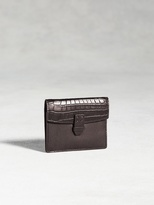 John Varvatos Genuine Crocodile Flap Card Case