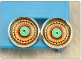 Nobrand No brand Handmade 12mm Photo Glass Cabochon Copper Stud Earring for Women