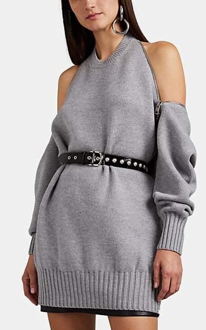 Alexander Wang Women's Zip-Detailed Merino Wool Sweater - Dark Gray