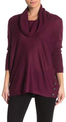 Cable & Gauge Cowl Neck Button Tunic Sweater