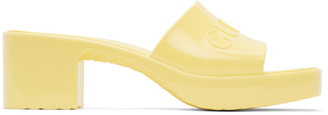 Gucci Yellow Rubber Slide Sandals