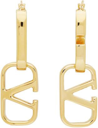 Valentino Gold Garavani Double VLogo Hoop Earrings