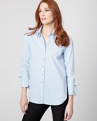 Le Château Stripe Stretch Poplin Button-Front Blouse